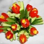 آموزش ساخت دسته گل با گوجه فرنگی و خیار/میوه آرایی