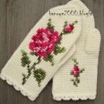 آموزش بافت دستکش قلاببافی با گل رز/قلا ب بافی