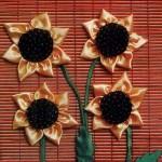 آموزش تصویری ساخت تابلوی گل آفتابگردان /روبان دوزی