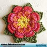 آموزش بافت گل  رنگارنگ/قلاب بافی