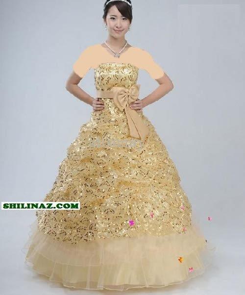 مدلهای زیبا از لباس عروس طلایی شیک/وسایل مورد نیاز عروس